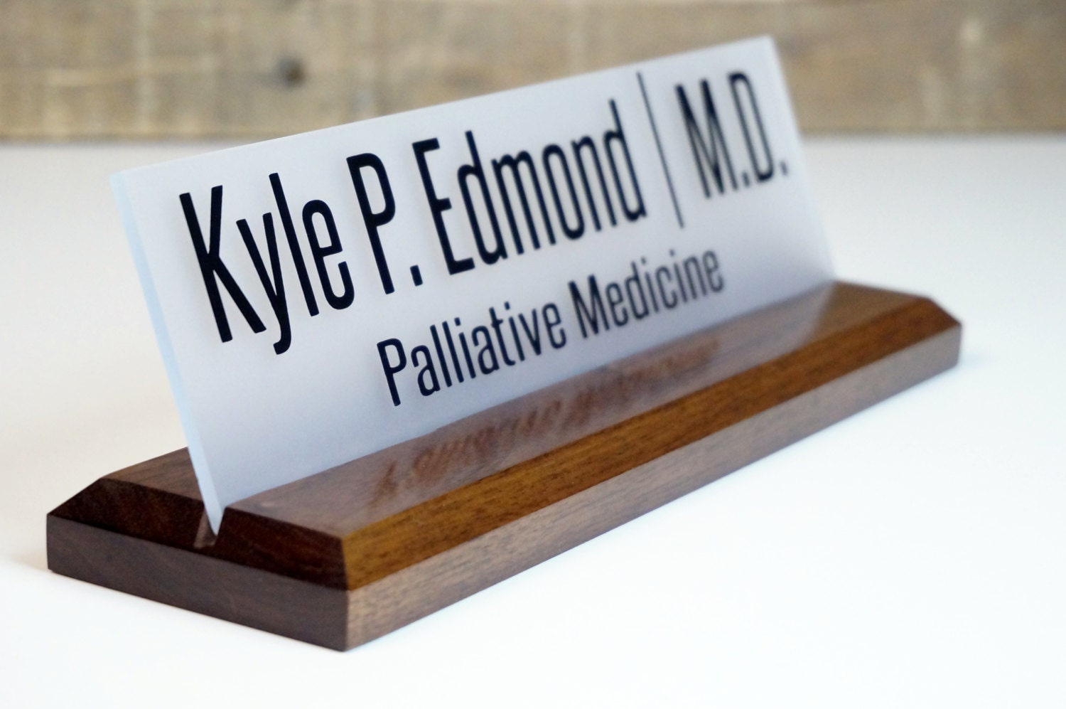 Desk Name Plate Professional Gift Personalized Wood by