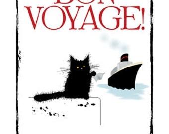 Bon Voyage cat greetings card