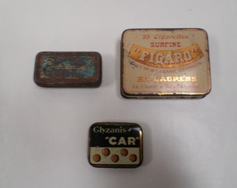 Lot of 3 French Vintage Metal Tin Boxes w597