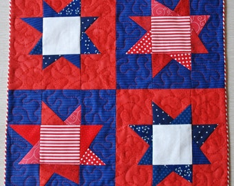 Fourth of July Mini Quilt, Table Topper Runner Centerpiece, Free Shipping Ready to Ship, American Patriotic Decor Stars Stripes America USA