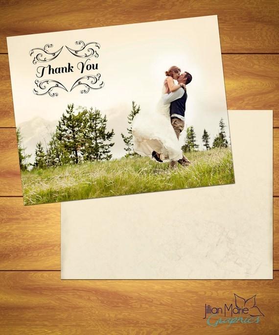 100 Folded Wedding Photo Thank You Cards {Floral Ornate Emblem}