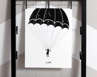 Jump Art Print, Parachute Printable, Parachute Wall Art, Sky Diver Wall Art, Parachute Art, Sky Dive Art, Jump Art, Up Wall Art, kids art