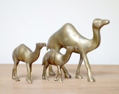 Brass Camels, Vintage, Set of 3, Egyptian Revival Figurines with Single Humps