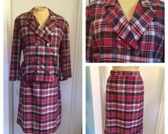 vintage 50's plaid jacket and skirt / 2 piece summer suit