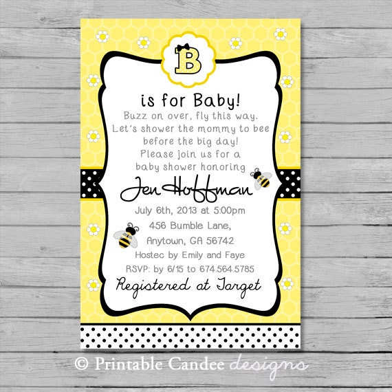 bumble bee baby shower invitation diy custom by printablecandee