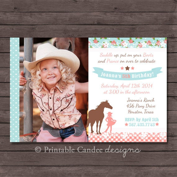 Shabby Cowgirl Horse Birthday Invitation