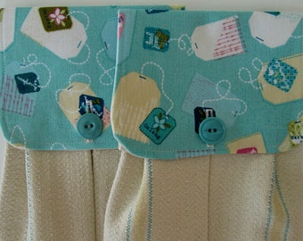 Hanging Kitchen Towel Set-  Tea Bag Print Fabric Turquoise Creamy Yellow White Natural Cotton Woven Towels Button Closure