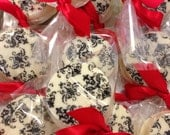Edible Wedding Favors Black and White Damask Print Oreos Frost the Cake