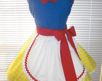 Red, Yellow, Blue Costume Apron French Maid Apron Inspired Costume Apron Pin-up Retro Style Flirty Skirt Sweetheart Neckline – Ready to Ship
