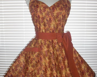 1950s Retro Apron Shimmering Autumn Leaves Paired with Burnt Orange Kona Cotton Circular Flirty Skirt
