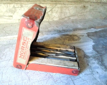 Vintage Box, Tools, Drill Bits, Hand Taps, Old Paper Cardboard Box, Add to Collection, Display, Vintage Tools, Small Tools, All Vintage Man