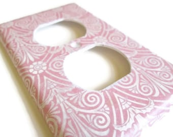 Outlet Cover - Switch Plate - Pink and White Pattern