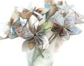 Bouquet Map Paper OOAK Origami Flowers with Stems