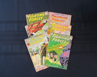 Comic Books 1959-1963 Our Fighting Forces 49, 59, 63, 65, 70 and 78 Gunner and Sarge DC Comics Mid Century (Set of Six)
