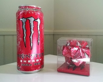 Monster Ultra Red Energy Drink Origami Ornament // Upcycled Recycled Repurposed Art // Valentines Day // weird gifts