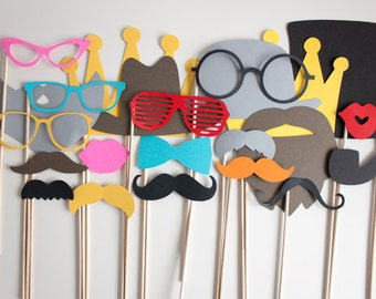 Photo Booth Props, DIY Photo Booth Props - Set of 23 - Great For Birthdays, Weddings, Any Special Occassion