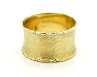 Wide gold wedding band, curvy comfy fit