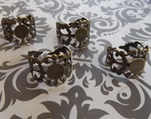 10 Filigree Ring Bases 8mm Adjustable Ring Blanks