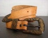 Vintage Bohemian Western Skinny Belt Camel Leather