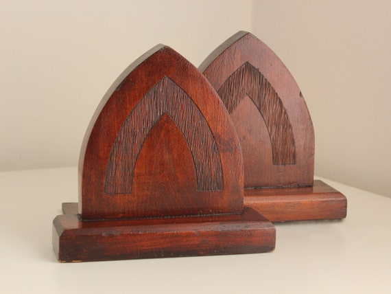 Arts Crafts 39 Gothic Arch 39 Wood Bookends By Losfabulous On Etsy