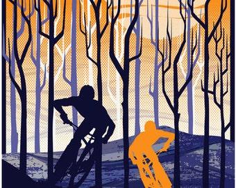 retro vintage mountain bike illustration poster print  11X17