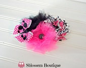 Minnie Mouse shabby flower headband, Disney hair band, pink hair flower, shabby flower, Minnie Mouse