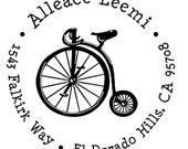 Return address stamp,SELF INKING custom address stamp,personalized stamp,wedding stamp,bike,vitage bicycle,R41