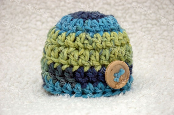 Newborn baby boy hat button beanie aqua blue green newborn size photography photo prop