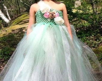 Arabella's Garden - Couture Flower Girl  Tutu Dress in Mint  SIZES 12M - girls 7
