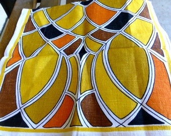 Vintage 1970's Bright Colored Abstract Tea Towel