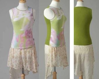 Womens clothing repurposed spandex tank top skirt dress pastel S