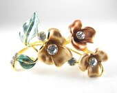Pretty Floral Brooch Color Tinted Metals Rhinestone Accents Bronze Gold Green Colors