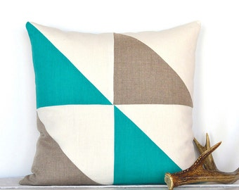 Triangle Modern Colorblock Pillow Cover - Sea Turq/ Natural Combo