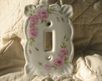 Pink Roses Hand painted porcelain Single Switchplate cover