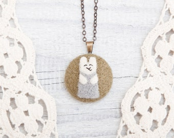 Felted Necklace, Little Bunny, Green Pendant