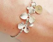 Initial Orchid bracelet, Personalized bracelet, Initial bracelet, custom Bracelet, Bridesmaids Bracelets, Silver Orchid flower