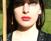 Fiery Vintage Crystal Color Block Dangle Earrings--Scarlet Red & Golden Amber Flame Fire Sexy Chandelier Faceted Glass