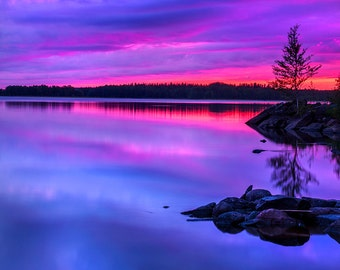 Nature decor, calm lake sunset wall art, Finland surreal photo print you can frame, violet sky, square print nature landscape large wall art
