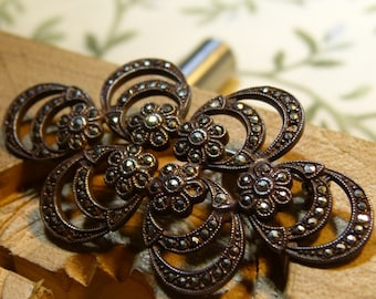 Vintage 1930's Art Deco Sterling and Marcasite Brooch/ Pin