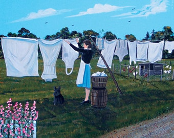 Print from Original Painting 1930s Woman Hanging Laundry on Clothes Line