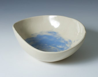 Natural White and Blue Stoneware Pottery Ceramic Bowl 6 to 7 inches - Display Bowl  - ready to ship