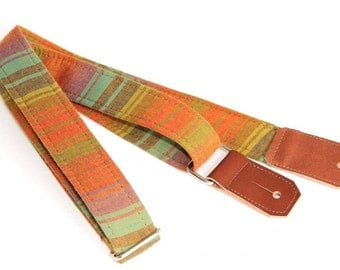 Summer Stripe Ukulele Strap with Leather ends and optional tie lace