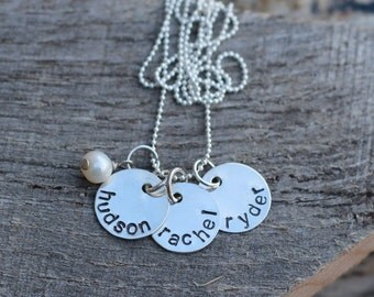 Hand Stamped Sterling Silver Personalized Name Necklace with THREE DISCS