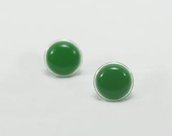 Green Stud Earrings 14mm - Green Earrings - Green Ear Studs - Surgical  Steel Post Earrings - Gift for Her - Round Earrings Studs
