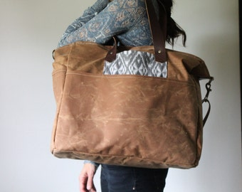 Waxed Canvas Diaper Bag Soft Brown