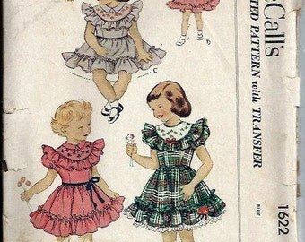 1950's Girls Ruffled Dress Pattern with Transfers, McCall's 1622, Size 6