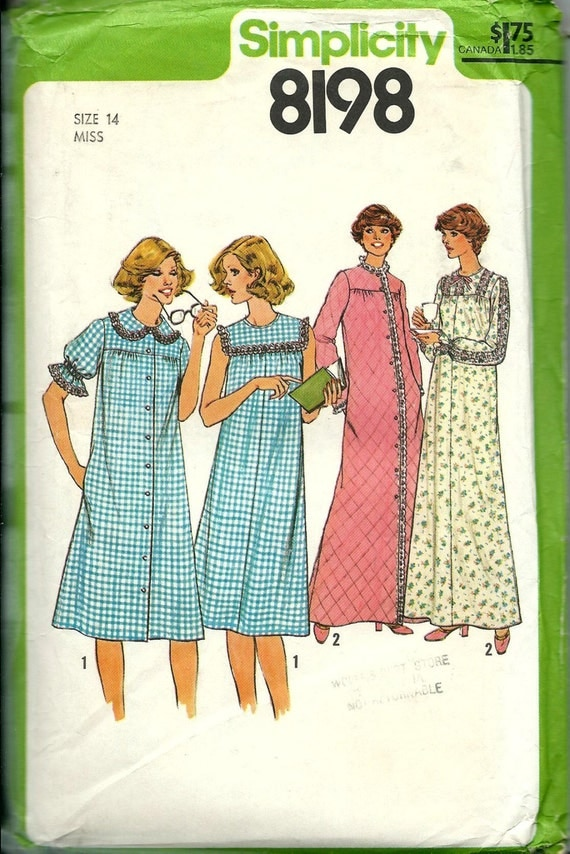 Simplicity 8198 Misses Nightgown and Robe Pattern, Two Lengths, Size 14