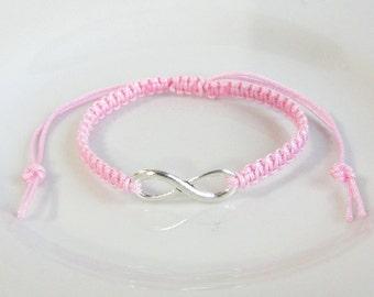 Pink Silver Infinity Charm Bracelet, Silver Infinity Bracelet, Adjustable Macrame Bracelet, Friendship Infinity Bracelet