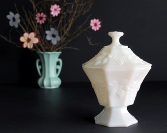 Vintage Anchor Hocking Milk Glass Grape Harvest Pattern Octagon Footed Covered Candy Dish Compote