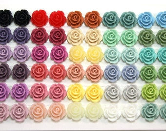 60 pcs Resin Flower Cabochons - 10mm Camellias - Matte